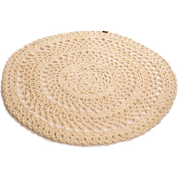 Hæklet tæppe creme